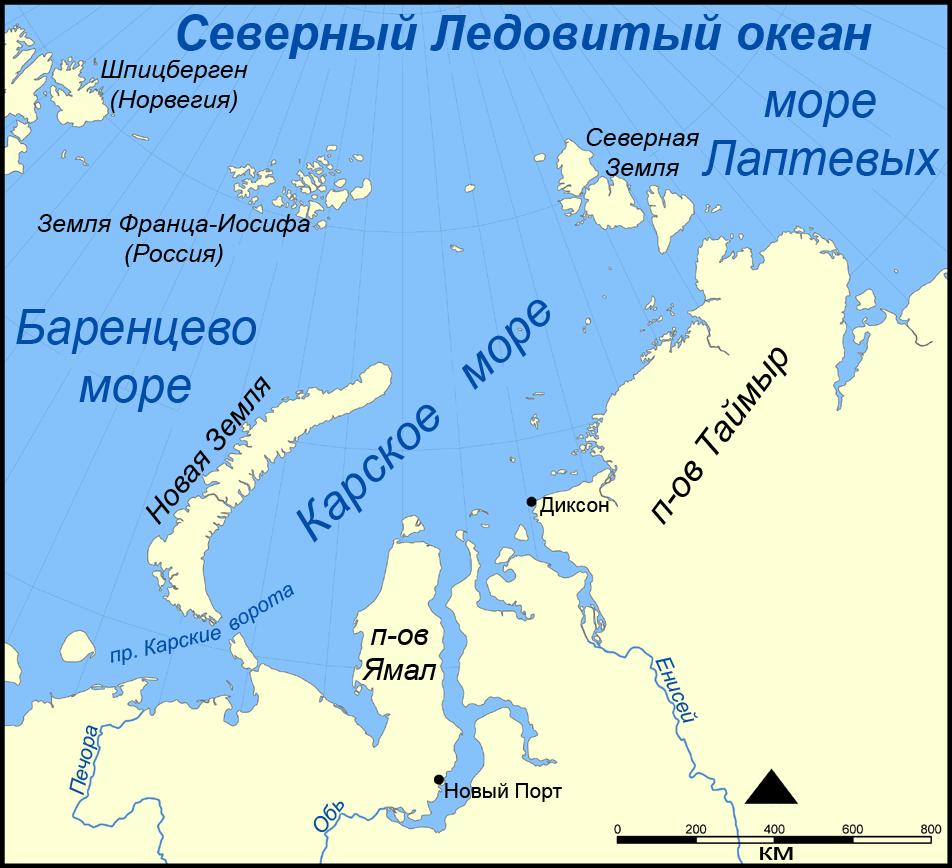 Где находятся остров новая земля на карте